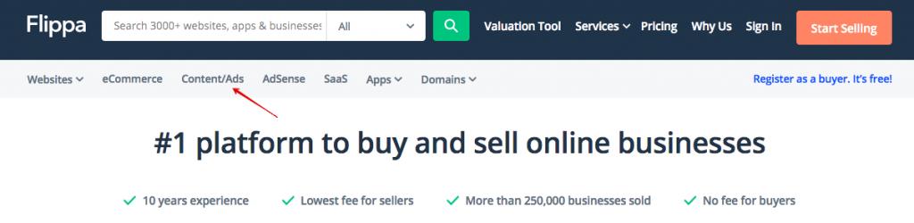 Search for Advertising Websites on Flippa platform