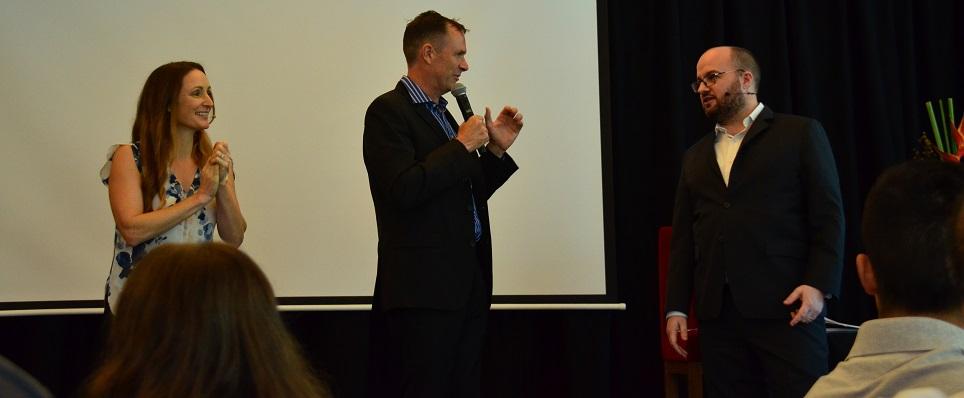 Matt and Liz Raad with Thomas Smale FE International