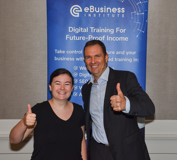 Matt Raad with student Holly, who learned how to make passive income online