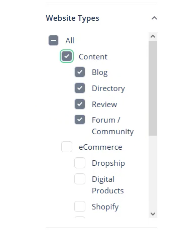 Searching for Content Websites on Flippa